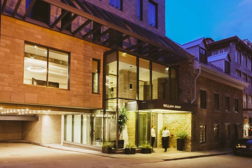 Hotel William Gray S Lobby Protrudes Like A Lightbox Towards Its Cobblestoned Old Montreal Street