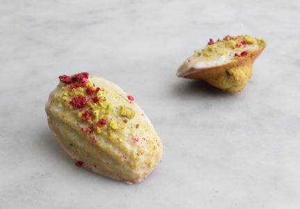 Raspberry Pistachio Madeleines